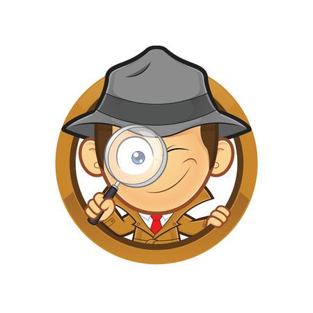 Detective met een vergrootglas met cirkelvorm Stock Illustratie