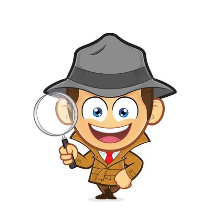 Detective leaning on an empty block Stock Illustratie