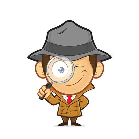 Detective sosteniendo una lupa  Ilustración de vector