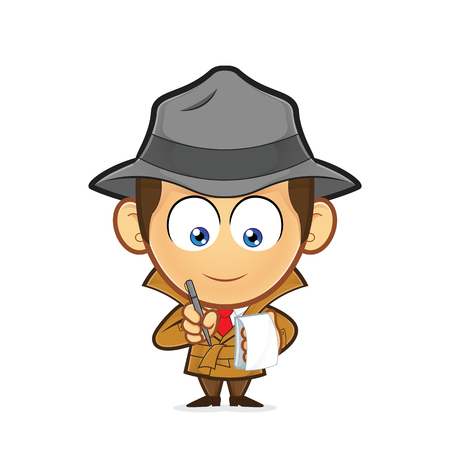 Detective with a notepad and pen Stock Illustratie