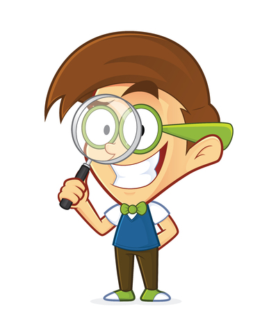 Nerd geek holding a magnifying glass Illustration
