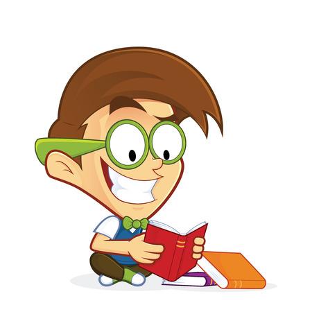 Nerd geek reading book Illustration