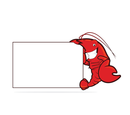 holding sign: Lobster holding a blank board Illustration