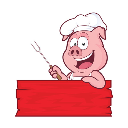 pig roast: Pig BBQ chef Illustration