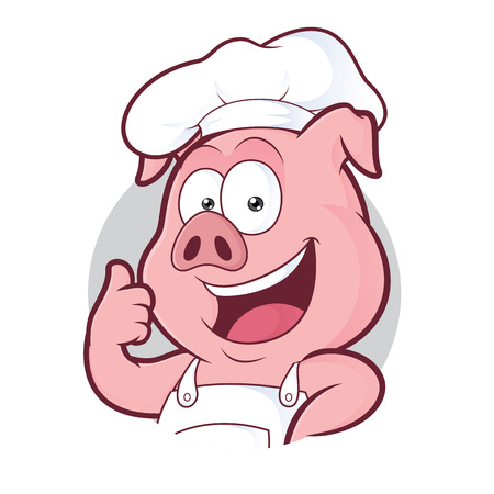 Pig chef giving thumbs up in round frame Illustration