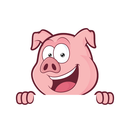 Pig holding and looking over a blank sign board Stock Illustratie