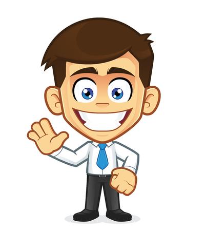 Smiling businessman waving Vector illustration.