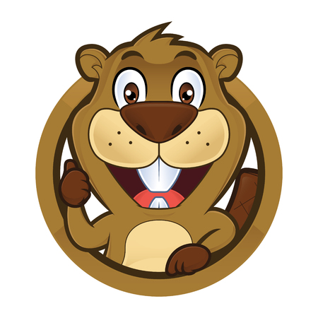 Beaver giving thumbs up in round frame