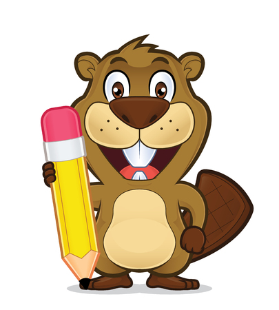 pen and paper: Beaver holding a pencil