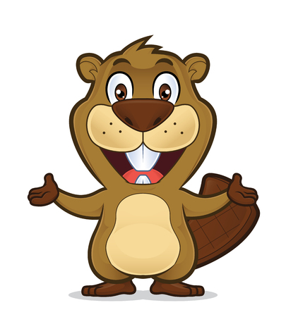 forest animals: Beaver in welcoming gesture