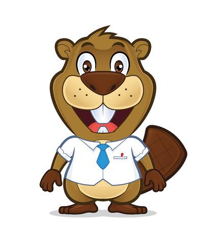 Beaver che indossa una camicia e una cravatta Archivio Fotografico - 75264034