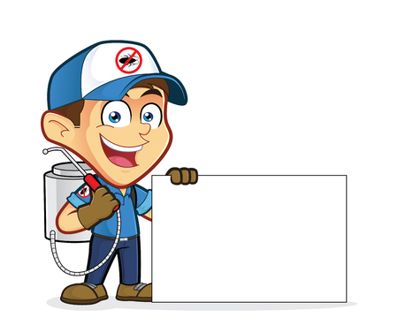 Exterminator or pest control holding blank sign