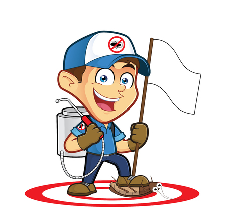 Exterminator or pest control holding flag