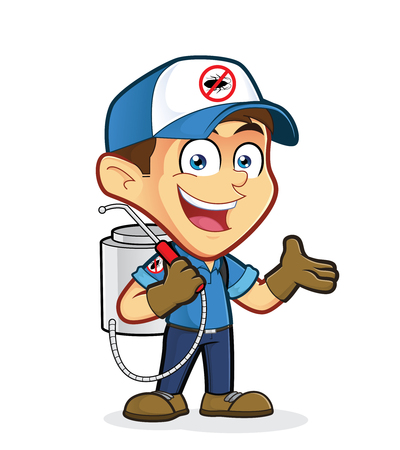 Exterminator or pest control in welcoming gesture