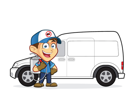 exterminate: Exterminator or pest control standing in front van Illustration