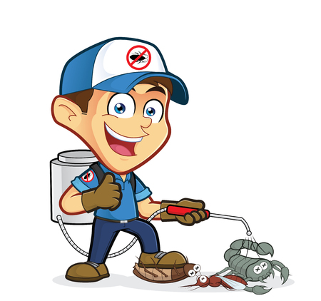 Exterminator or pest control with dying pest