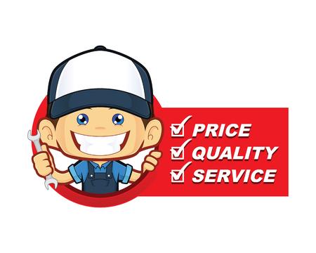 Mechanic with service list Stock Illustratie