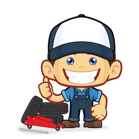 service man: Tire service mechanic Illustration