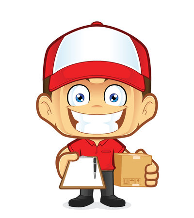 Delivery man courier holding a box and clipboard Illustration