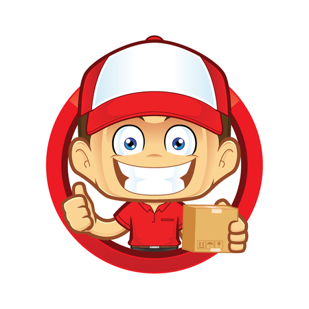 Delivery man courier holding a box and giving thumbs up in circle shape