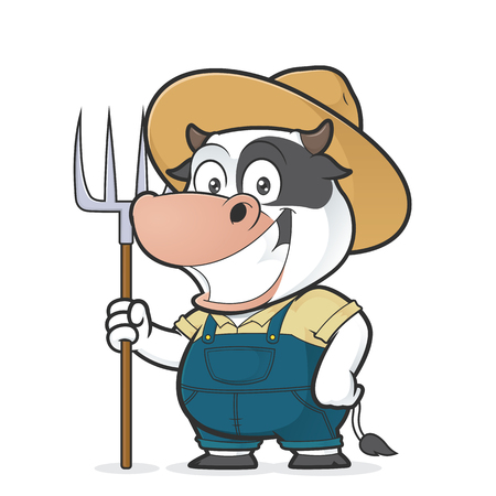 Cow farmer holding a rake Illustration