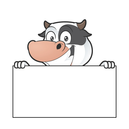 udders: Cow holding blank sign Illustration