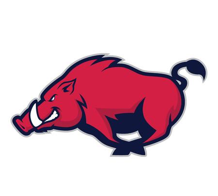 Wild hog or boar mascot Illustration