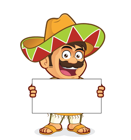 Mexican man holding a blank sign Ilustrace