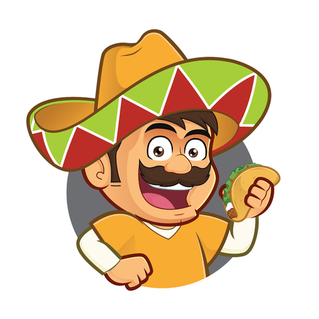 Mexican man holding a taco in round frame Vectores