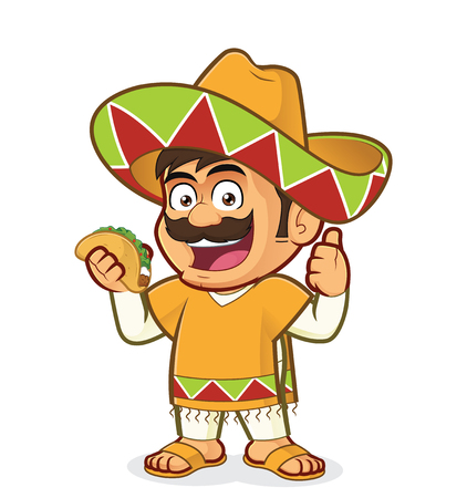 Mexican man holding a taco on a colorful presentation. Ilustrace