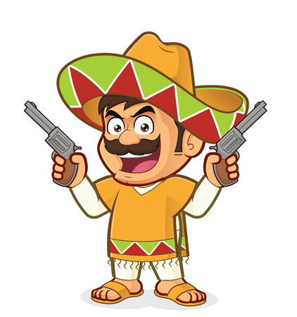 Mexican man holding two guns