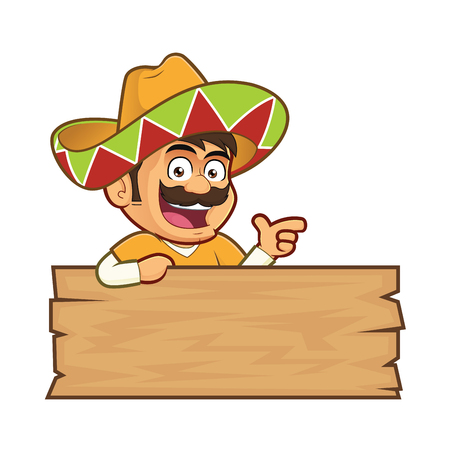 Mexican man with a wooden sign