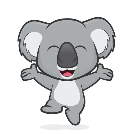 Happy koala jumping