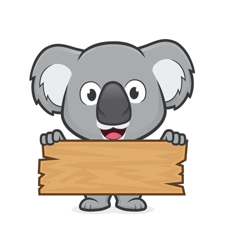 Koala holding a plank of wood Stock Illustratie