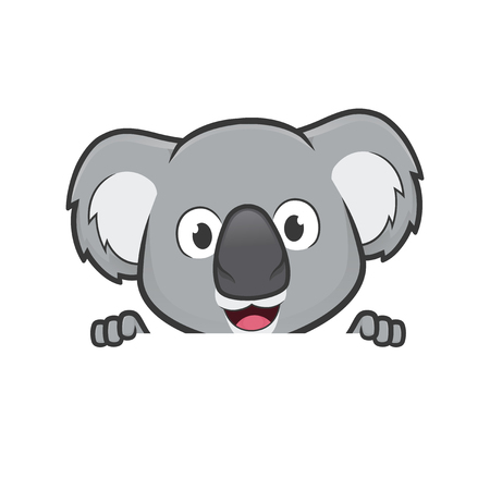Koala holding and looking over a blank sign board Illustration