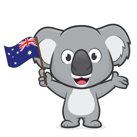 Koala che tiene bandiera australiana