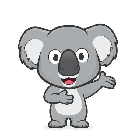 Cartoon illustration of Koala in welcoming gesture