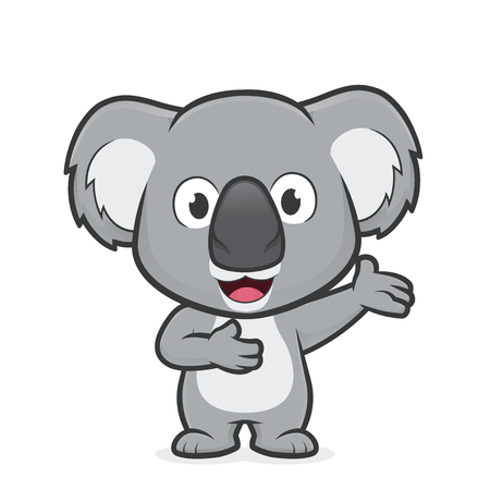 Cartoon illustration of Koala in welcoming gesture