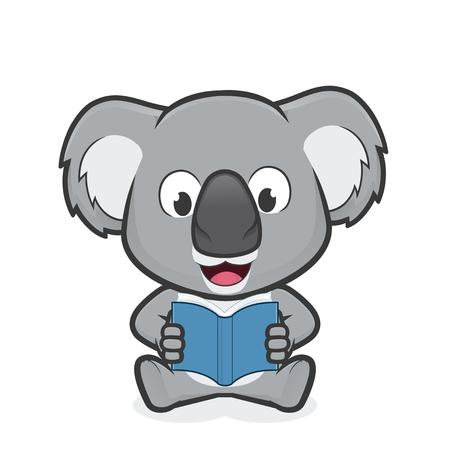 Koala reading a book  イラスト・ベクター素材