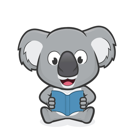 Koala reading a book Stock Illustratie