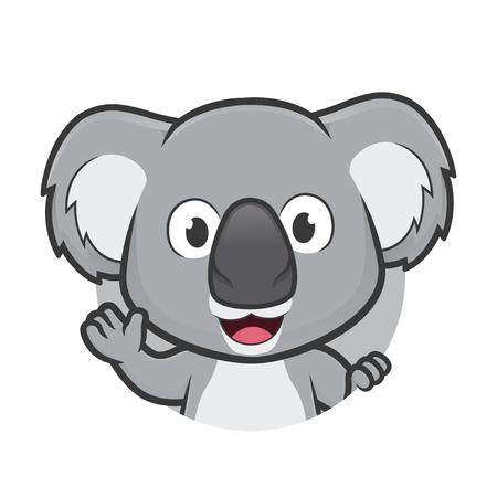 Koala waving in round frame Ilustrace