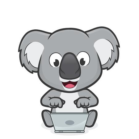 Koala with laptop