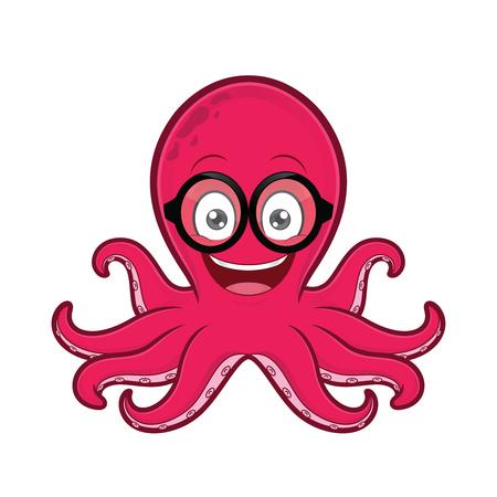 Octopus geek wearing glasses 일러스트