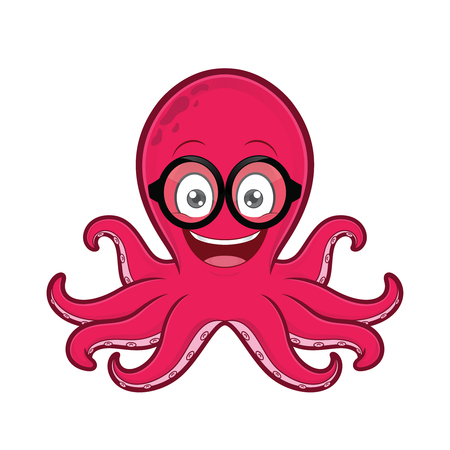 Octopus geek wearing glasses Ilustrace