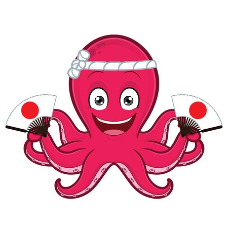 Octopus holding japanese fan Ilustrace