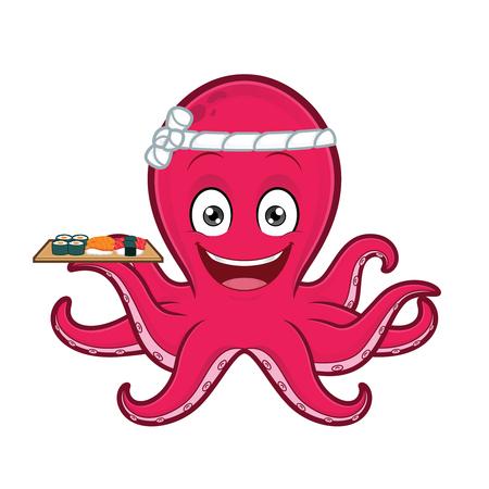 Octopus holding sushi plate Ilustrace