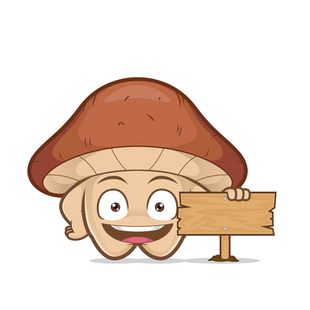Clip art picture of a mushroom cartoon character holding a wooden sign Ilustrace