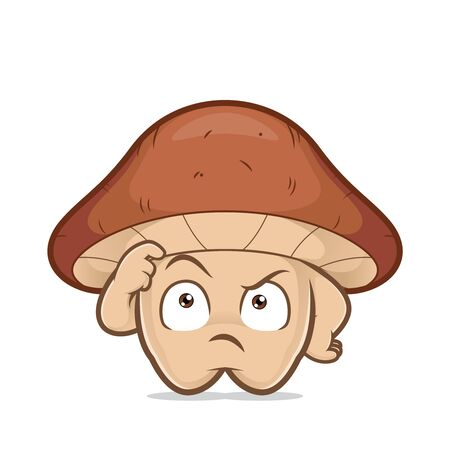 Clipart picture of a thinking mushroom cartoon character