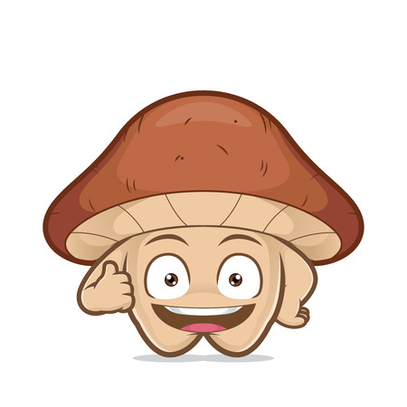 Clipart picture of a mushroom cartoon character giving thumbs up
