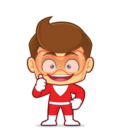 Clipart picture of a superhero cartoon character giving thumbs up Ilustrace